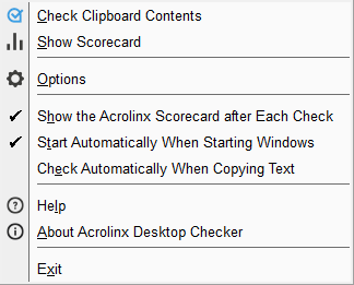 Desktop Checker Menu
